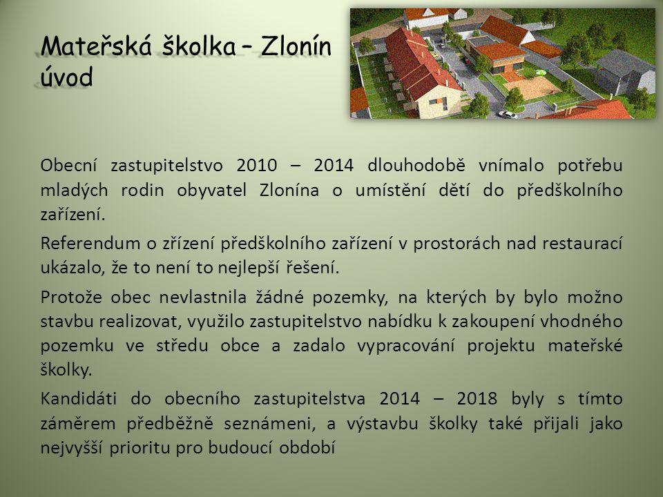 Mateřská školka – Zlonín úvod Obecní zastupitelstvo 2010 – 2014 dlouhodobě vnímalo potřebu mladých rodin obyvatel Zlonína o umístění dětí do předškoln