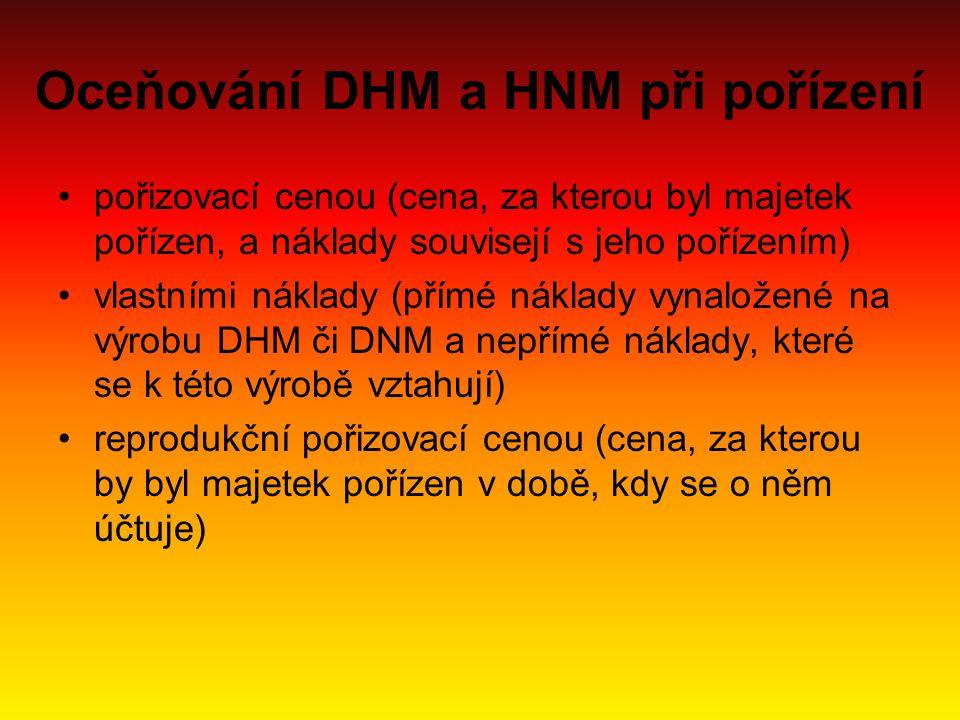 Oceňování DHM a HNM při pořízení pořizovací cenou (cena, za kterou byl majetek pořízen, a náklady souvisejí s jeho pořízením) vlastními náklady (přímé
