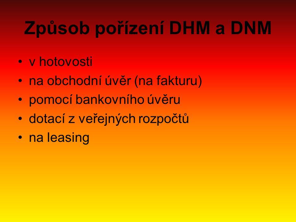 Způsob pořízení DHM a DNM v hotovosti na obchodní úvěr (na fakturu) pomocí bankovního úvěru dotací z veřejných rozpočtů na leasing