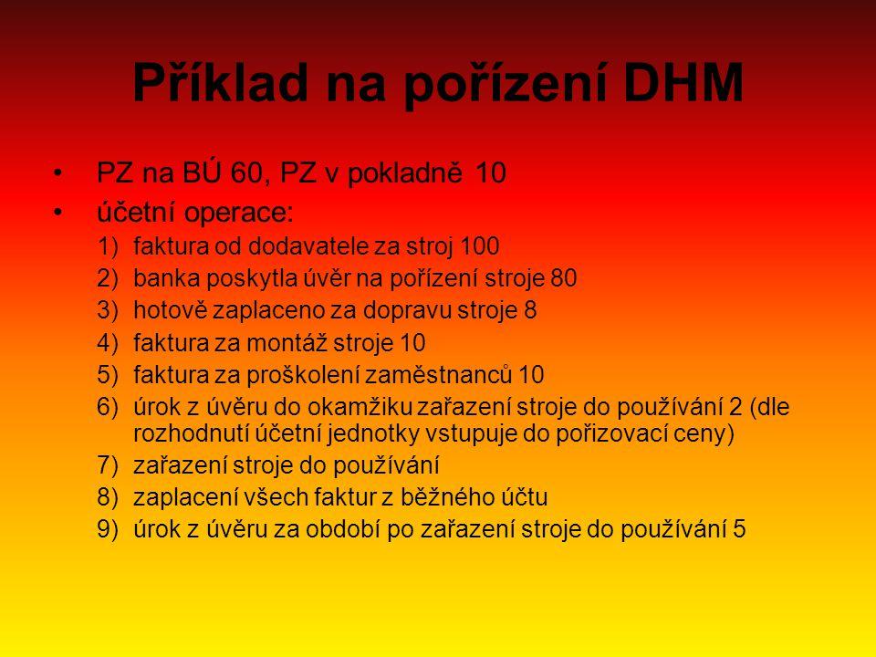 Příklad na pořízení DHM PZ na BÚ 60, PZ v pokladně 10 účetní operace: 1)faktura od dodavatele za stroj 100 2)banka poskytla úvěr na pořízení stroje 80