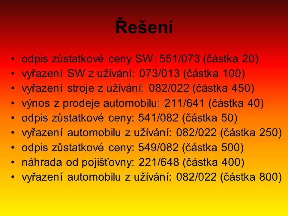 Řešení odpis zůstatkové ceny SW: 551/073 (částka 20) vyřazení SW z užívání: 073/013 (částka 100) vyřazení stroje z užívání: 082/022 (částka 450) výnos