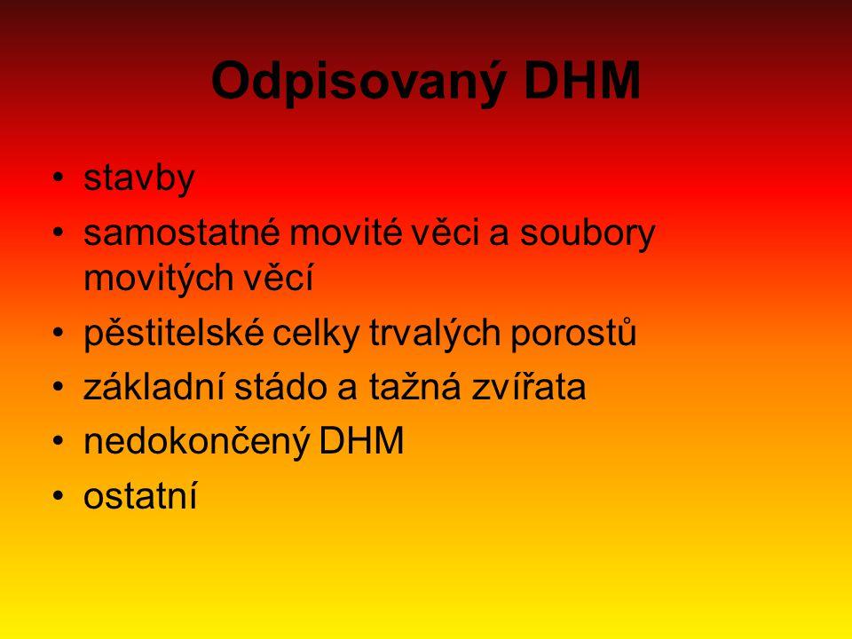 Odpisovaný DHM stavby samostatné movité věci a soubory movitých věcí pěstitelské celky trvalých porostů základní stádo a tažná zvířata nedokončený DHM
