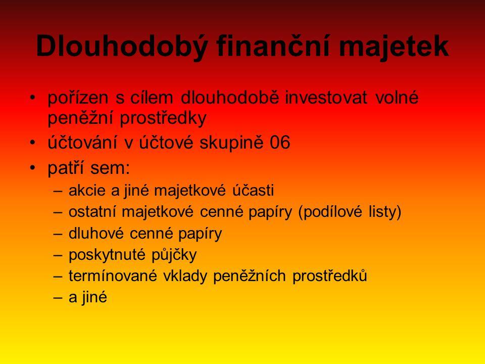 Dlouhodobý finanční majetek pořízen s cílem dlouhodobě investovat volné peněžní prostředky účtování v účtové skupině 06 patří sem: –akcie a jiné majet