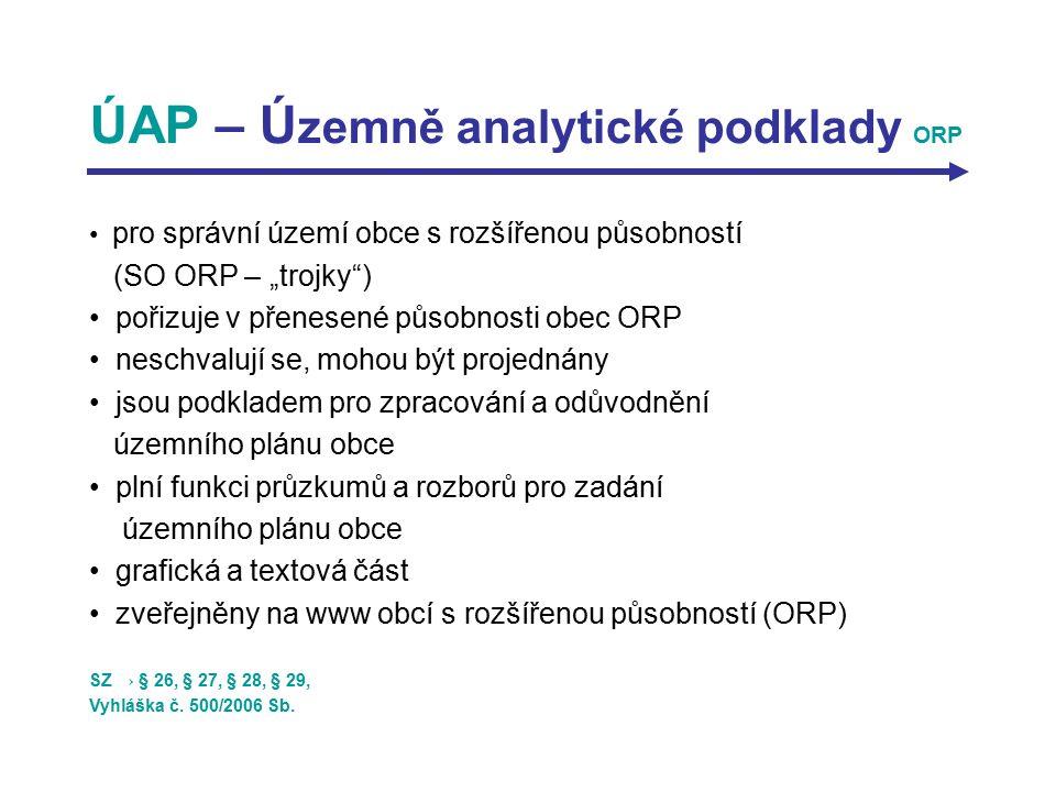 """ÚAP – Ú zemně analytické podklady ORP pro správní území obce s rozšířenou působností (SO ORP – """"trojky"""") pořizuje v přenesené působnosti obec ORP nesc"""