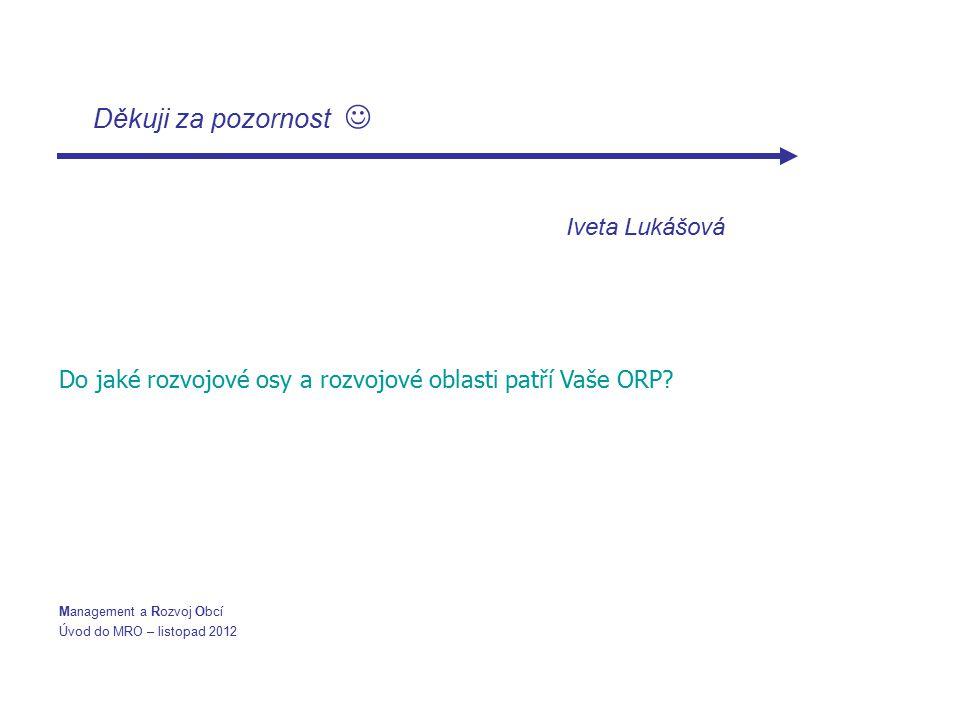 Děkuji za pozornost Iveta Lukášová Do jaké rozvojové osy a rozvojové oblasti patří Vaše ORP? Management a Rozvoj Obcí Úvod do MRO – listopad 2012