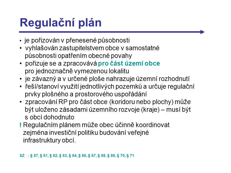 Regulační plán je pořizován v přenesené působnosti vyhlašován zastupitelstvem obce v samostatné působnosti opatřením obecné povahy pořizuje se a zpracovává pro část území obce pro jednoznačně vymezenou lokalitu je závazný a v určené ploše nahrazuje územní rozhodnutí řeší/stanoví využití jednotlivých pozemků a určuje regulační prvky plošného a prostorového uspořádání zpracování RP pro část obce (koridoru nebo plochy) může být uloženo zásadami územního rozvoje (kraje) – musí být s obcí dohodnuto .