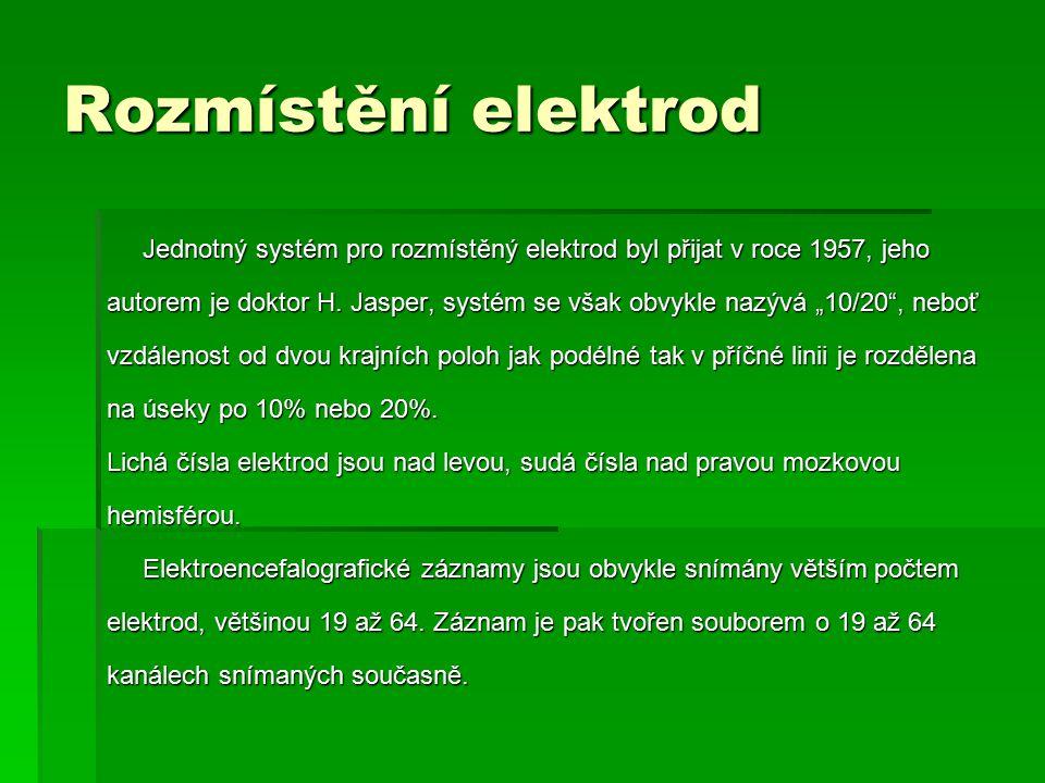 Rozmístění elektrod Jednotný systém pro rozmístěný elektrod byl přijat v roce 1957, jeho Jednotný systém pro rozmístěný elektrod byl přijat v roce 195