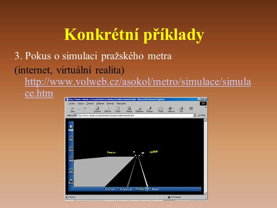 Konkrétní příklady 3. Pokus o simulaci pražského metra (internet, virtuální realita) http://www.volweb.cz/asokol/metro/simulace/simula ce.htm http://w