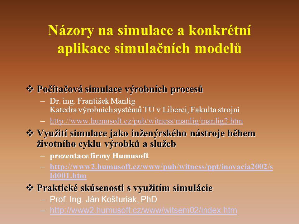 Názory na simulace a konkrétní aplikace simulačních modelů  Počítačová simulace výrobních procesů –Dr. ing. František Manlig Katedra výrobních systém