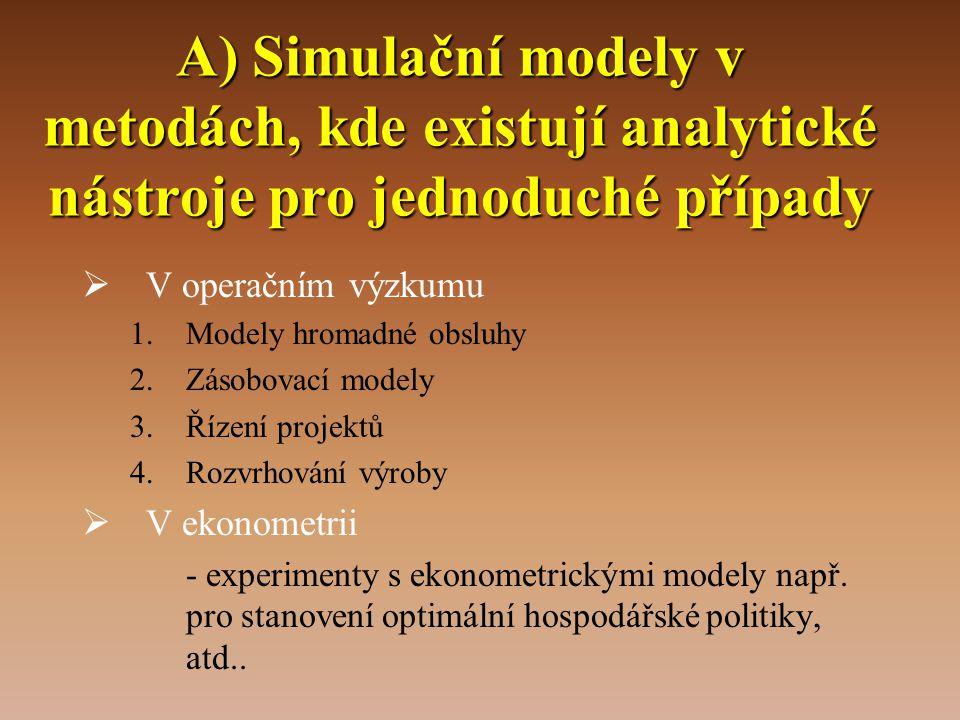 A) Simulační modely v metodách, kde existují analytické nástroje pro jednoduché případy  V operačním výzkumu 1.Modely hromadné obsluhy 2.Zásobovací m