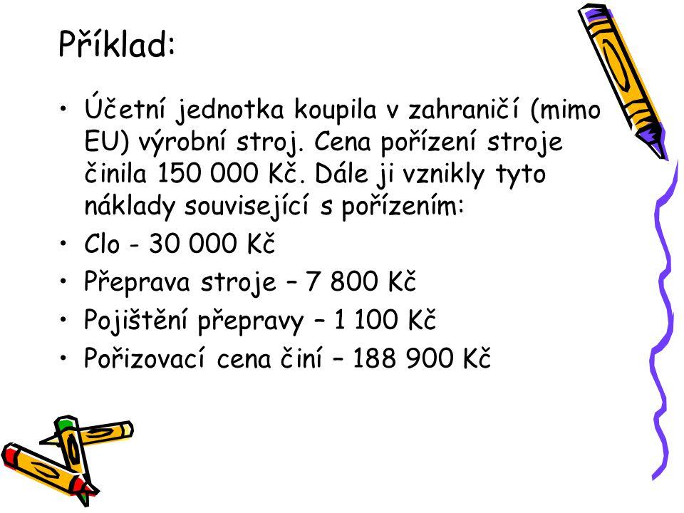 Příklad: Účetní jednotka koupila v zahraničí (mimo EU) výrobní stroj.