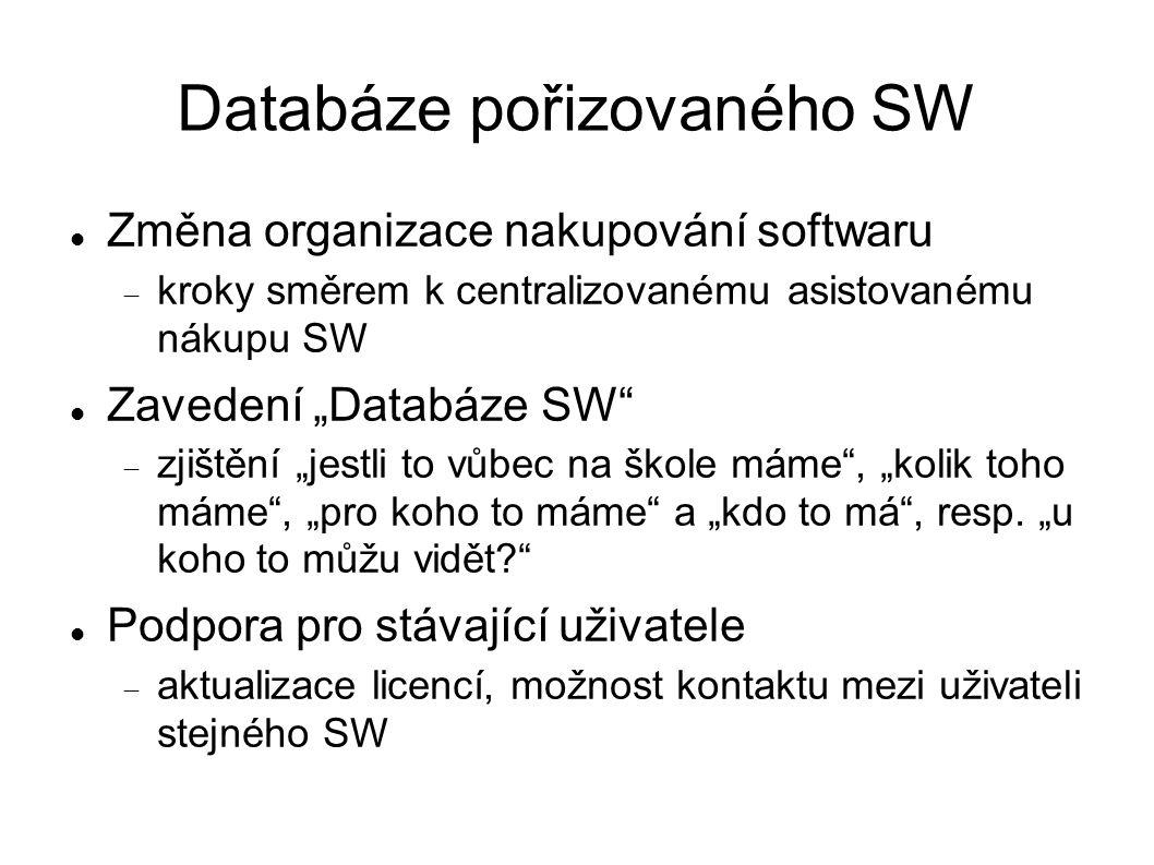 """Databáze pořizovaného SW Změna organizace nakupování softwaru  kroky směrem k centralizovanému asistovanému nákupu SW Zavedení """"Databáze SW  zjištění """"jestli to vůbec na škole máme , """"kolik toho máme , """"pro koho to máme a """"kdo to má , resp."""