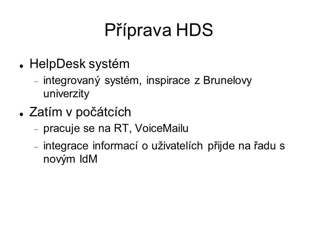 Příprava HDS HelpDesk systém  integrovaný systém, inspirace z Brunelovy univerzity Zatím v počátcích  pracuje se na RT, VoiceMailu  integrace informací o uživatelích přijde na řadu s novým IdM