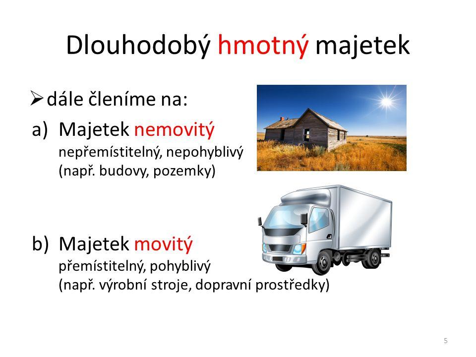 Dlouhodobý hmotný majetek  dále členíme na: a)Majetek nemovitý nepřemístitelný, nepohyblivý (např.