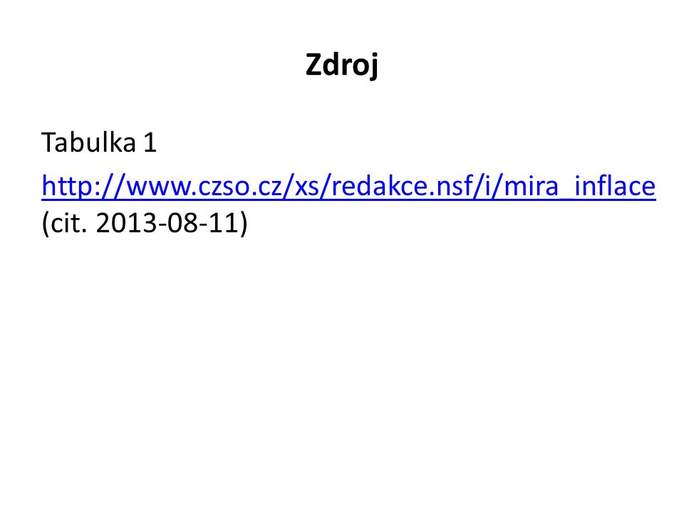 Zdroj Tabulka 1 http://www.czso.cz/xs/redakce.nsf/i/mira_inflace http://www.czso.cz/xs/redakce.nsf/i/mira_inflace (cit. 2013-08-11)