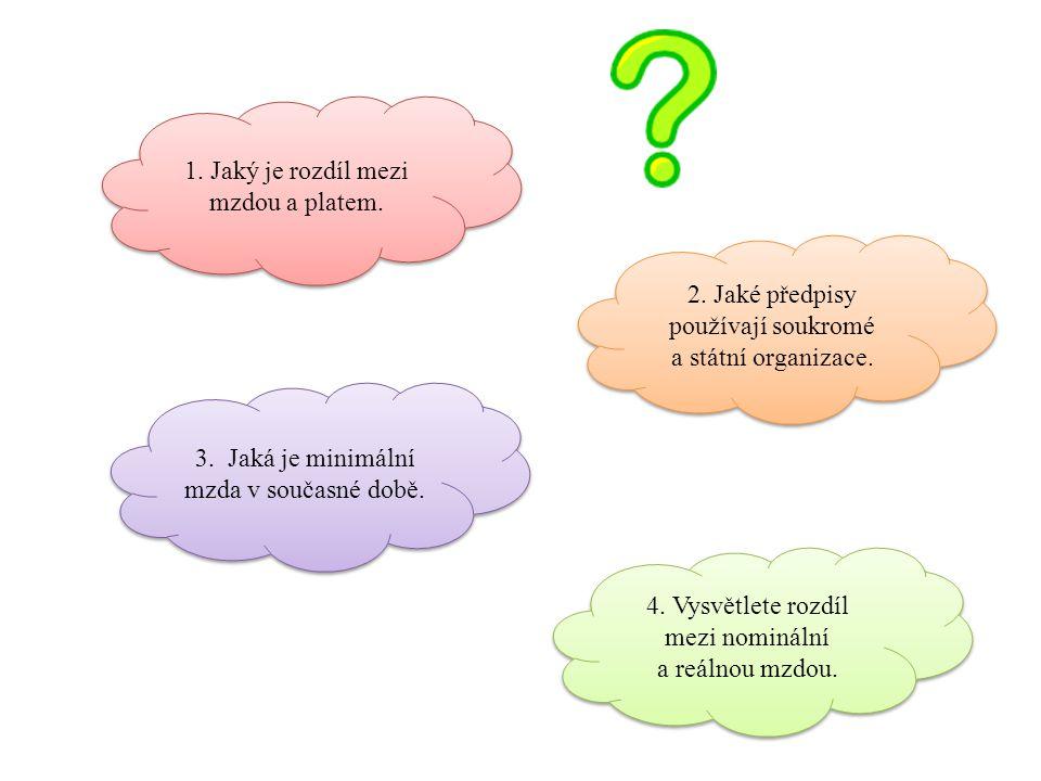 1. Jaký je rozdíl mezi mzdou a platem. 2. Jaké předpisy používají soukromé a státní organizace.