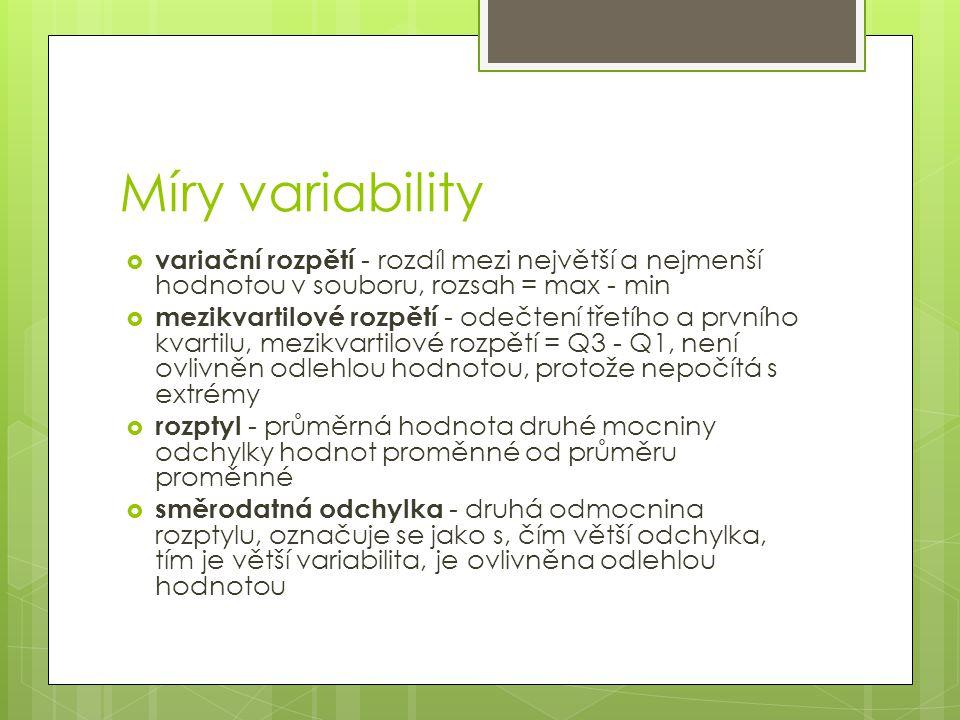 Míry variability  variační rozpětí - rozdíl mezi největší a nejmenší hodnotou v souboru, rozsah = max - min  mezikvartilové rozpětí - odečtení třetí