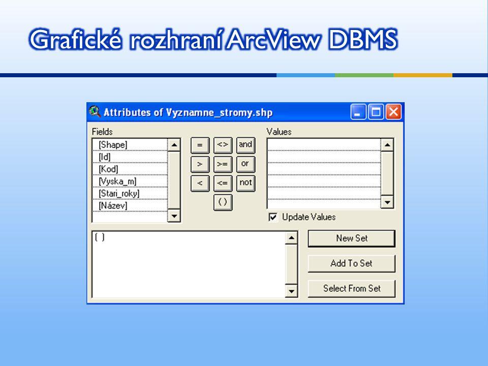  Access, MSQL, Oracle  Většina současných GIS pracuje s relačním DBMS.  To je vlastně množina tabulek spojených některým společným atributem.