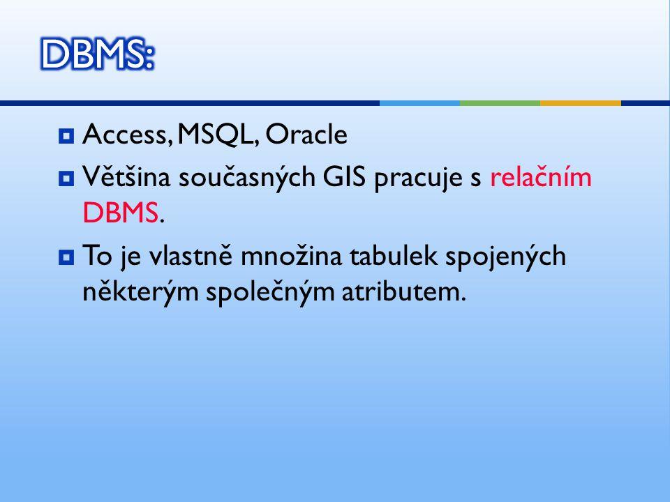  Access, MSQL, Oracle  Většina současných GIS pracuje s relačním DBMS.