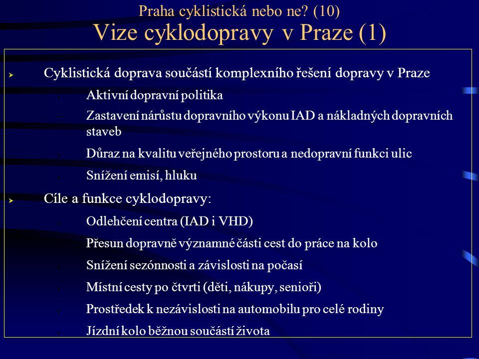 Praha cyklistická nebo ne? (10) Vize cyklodopravy v Praze (1)  Cyklistická doprava součástí komplexního řešení dopravy v Praze  Aktivní dopravní pol
