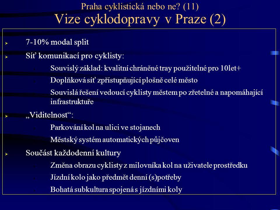 Praha cyklistická nebo ne? (11) Vize cyklodopravy v Praze (2)  7-10% modal split  Síť komunikací pro cyklisty:  Souvislý základ: kvalitní chráněné