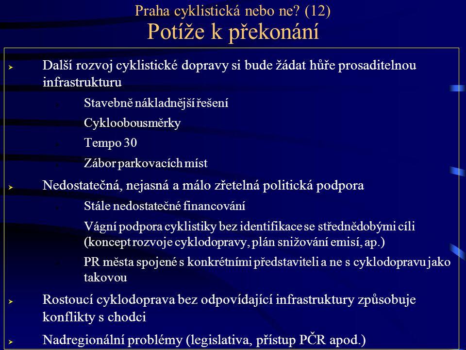 Praha cyklistická nebo ne? (12) Potíže k překonání  Další rozvoj cyklistické dopravy si bude žádat hůře prosaditelnou infrastrukturu  Stavebně nákla