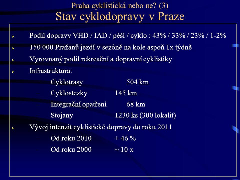 Praha cyklistická nebo ne? (3) Stav cyklodopravy v Praze  Podíl dopravy VHD / IAD / pěší / cyklo : 43% / 33% / 23% / 1-2%  150 000 Pražanů jezdí v s