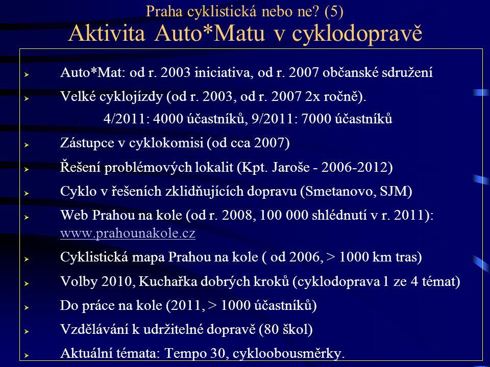Praha cyklistická nebo ne? (5) Aktivita Auto*Matu v cyklodopravě  Auto*Mat: od r. 2003 iniciativa, od r. 2007 občanské sdružení  Velké cyklojízdy (o