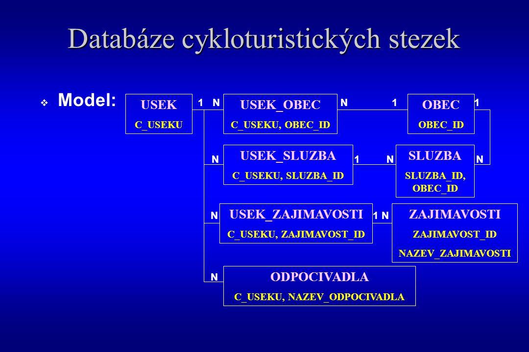  Model: 1 N N 1 1 N 1 N N N 1 N N Databáze cykloturistických stezek USEK C_USEKU USEK_OBEC C_USEKU, OBEC_ID OBEC OBEC_ID USEK_SLUZBA C_USEKU, SLUZBA_ID SLUZBA SLUZBA_ID, OBEC_ID USEK_ZAJIMAVOSTI C_USEKU, ZAJIMAVOST_ID ZAJIMAVOSTI ZAJIMAVOST_ID NAZEV_ZAJIMAVOSTI ODPOCIVADLA C_USEKU, NAZEV_ODPOCIVADLA