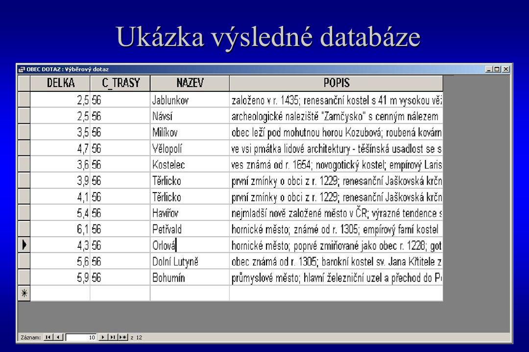 Ukázka výsledné databáze