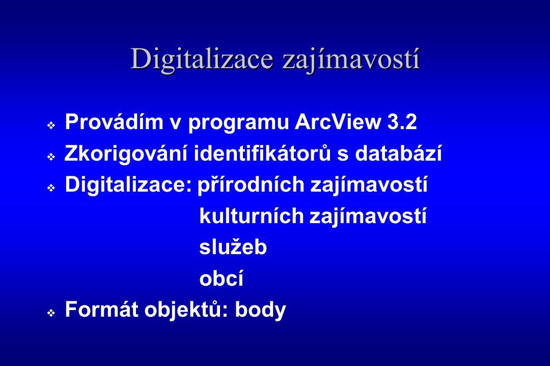 Digitalizace zajímavostí  Provádím v programu ArcView 3.2  Zkorigování identifikátorů s databází  Digitalizace: přírodních zajímavostí kulturních zajímavostí služeb obcí  Formát objektů: body