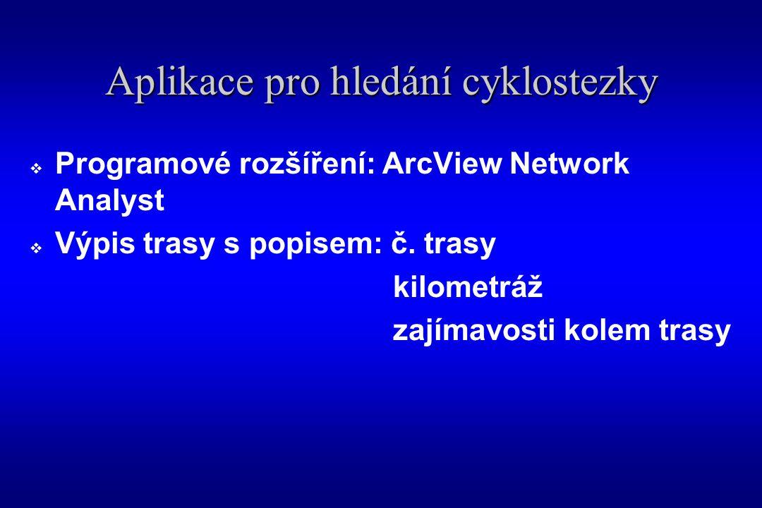 Aplikace pro hledání cyklostezky  Programové rozšíření: ArcView Network Analyst  Výpis trasy s popisem: č.