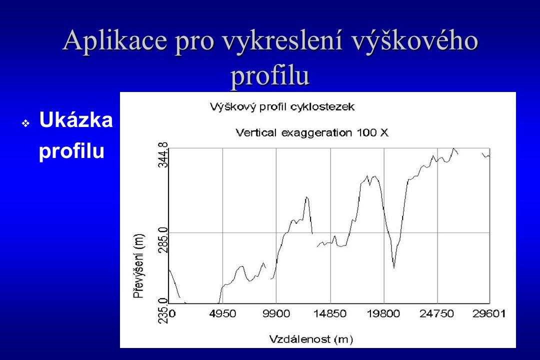 Aplikace pro vykreslení výškového profilu  Ukázka profilu