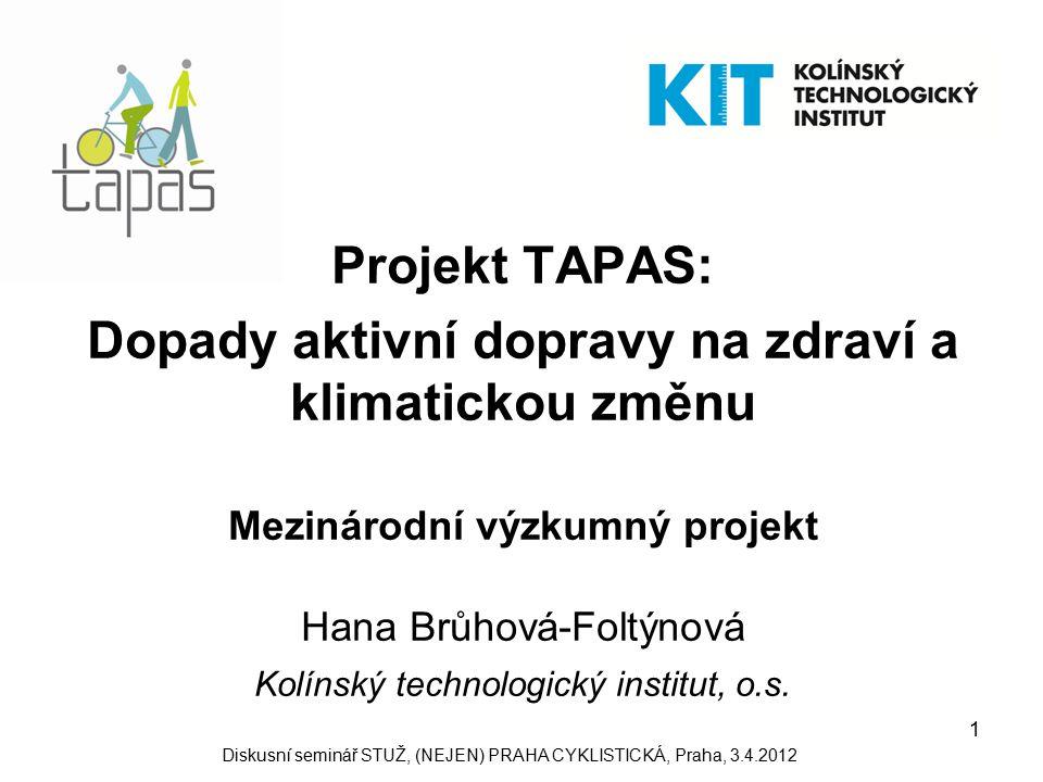 1 Projekt TAPAS: Dopady aktivní dopravy na zdraví a klimatickou změnu Mezinárodní výzkumný projekt Hana Brůhová-Foltýnová Kolínský technologický institut, o.s.