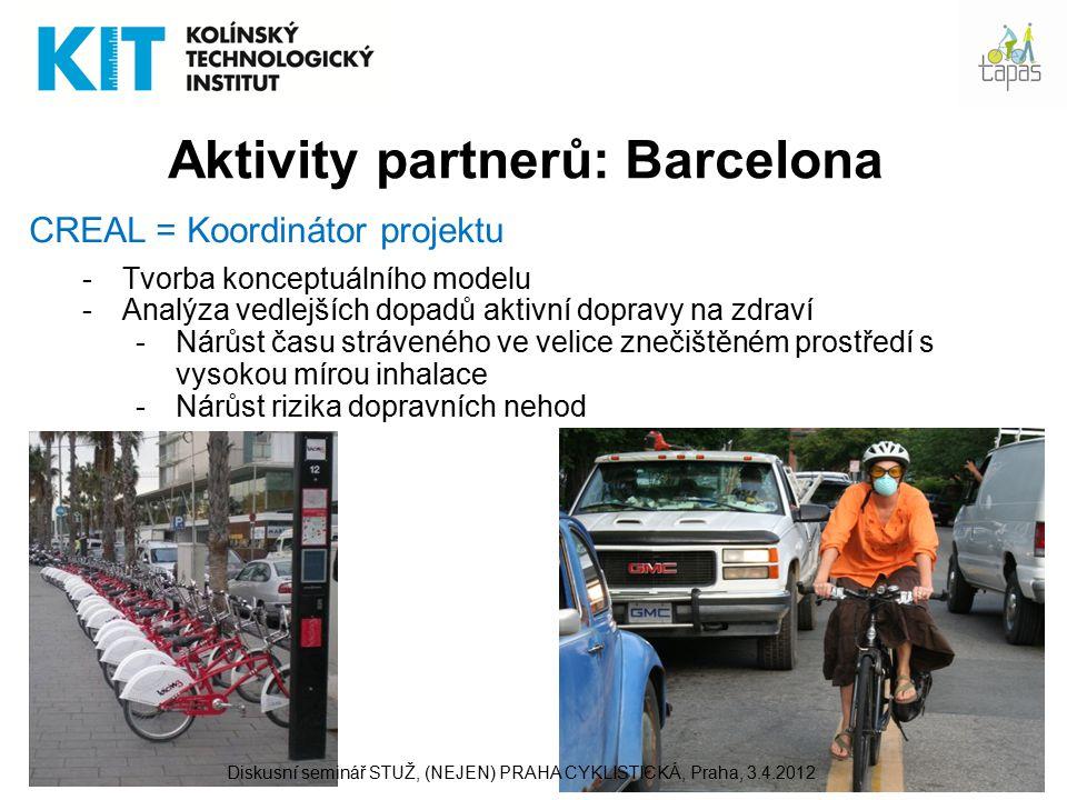 11 Aktivity partnerů: Barcelona CREAL = Koordinátor projektu -Tvorba konceptuálního modelu -Analýza vedlejších dopadů aktivní dopravy na zdraví -Nárůst času stráveného ve velice znečištěném prostředí s vysokou mírou inhalace -Nárůst rizika dopravních nehod Diskusní seminář STUŽ, (NEJEN) PRAHA CYKLISTICKÁ, Praha, 3.4.2012