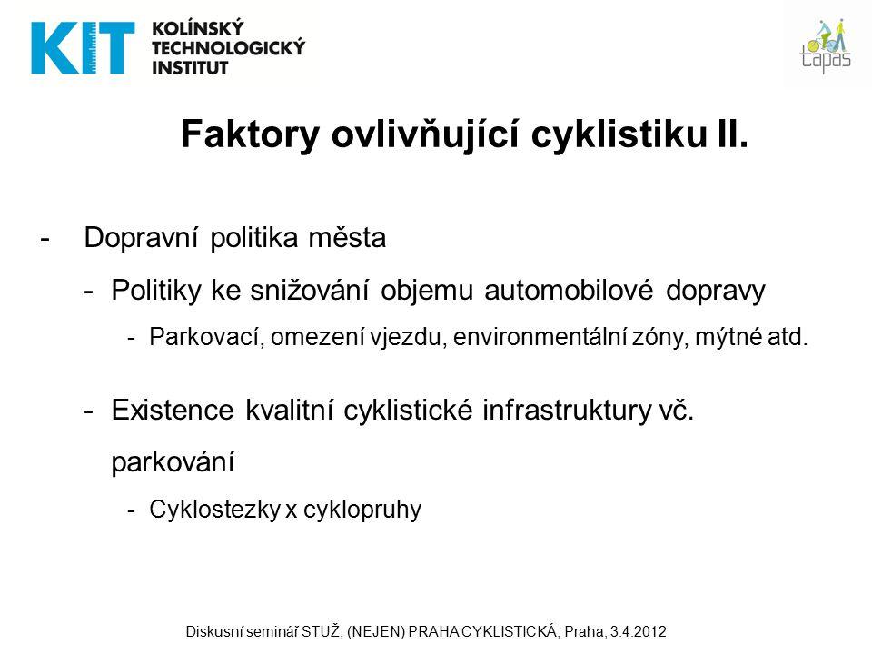 20 Aktivity WHO –Charta o dopravě, životním prostředí a zdraví (červen 1999) Naplňování principů udržitelného rozvoje dopravy Podpora hromadné přepravy osob a aktivní dopravy Snižování emisí Hodnocení projektů z hlediska vlivů na žp –Kvantifikace přínosů cyklistiky a chůze (2007-2008) Health Economic Assessment Tool for Cycling (HEAT for cycling) –Hodnota zdravotních přínosů v důsledku snížení mortality z důvodu pravidelné fyzické aktivity –Model v Excelu, volně ke stáhnutí na stránkách WHO –Případová studie Plzeň (Journal of Physical Activity and Health) Diskusní seminář STUŽ, (NEJEN) PRAHA CYKLISTICKÁ, Praha, 3.4.2012