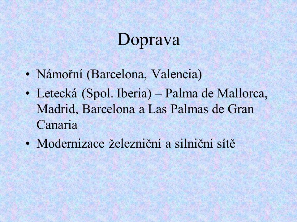 Doprava Námořní (Barcelona, Valencia) Letecká (Spol.