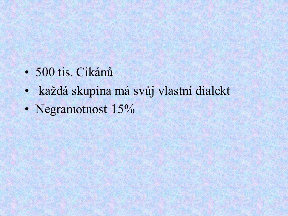 500 tis. Cikánů každá skupina má svůj vlastní dialekt Negramotnost 15%