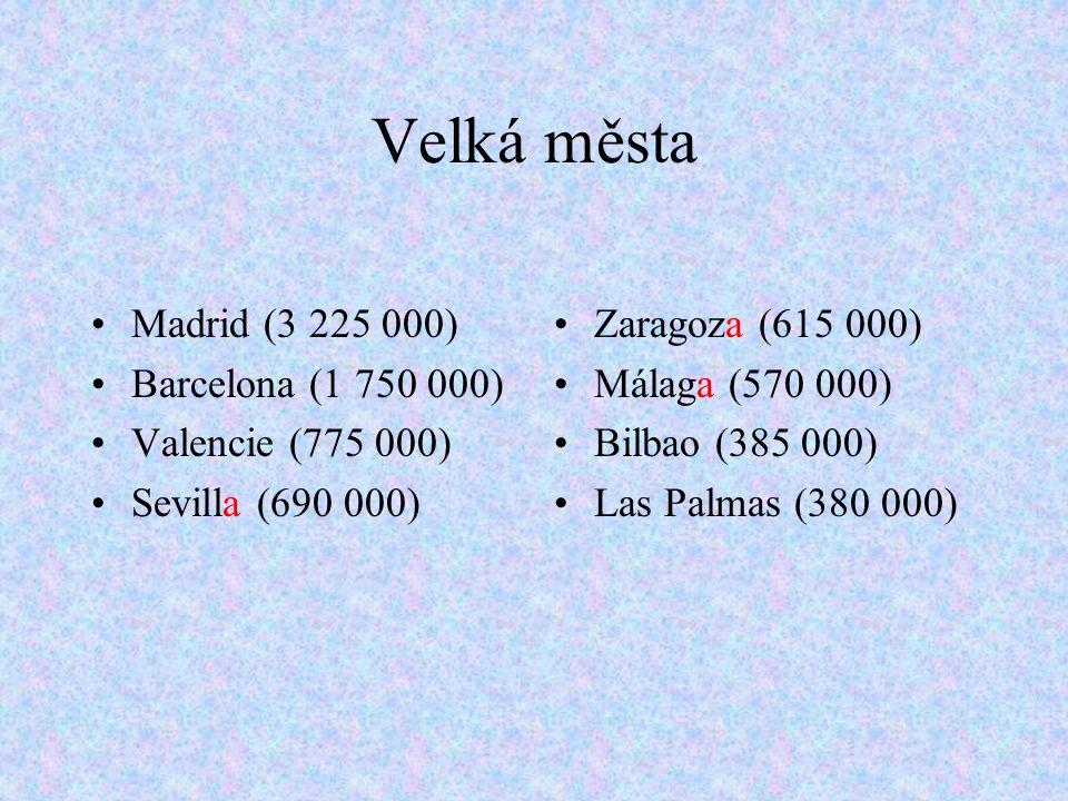 Velká města Madrid (3 225 000) Barcelona (1 750 000) Valencie (775 000) Sevilla (690 000) Zaragoza (615 000) Málaga (570 000) Bilbao (385 000) Las Palmas (380 000)