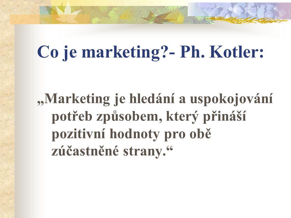 """Co je marketing?- Ph. Kotler: """"Marketing je hledání a uspokojování potřeb způsobem, který přináší pozitivní hodnoty pro obě zúčastněné strany."""""""