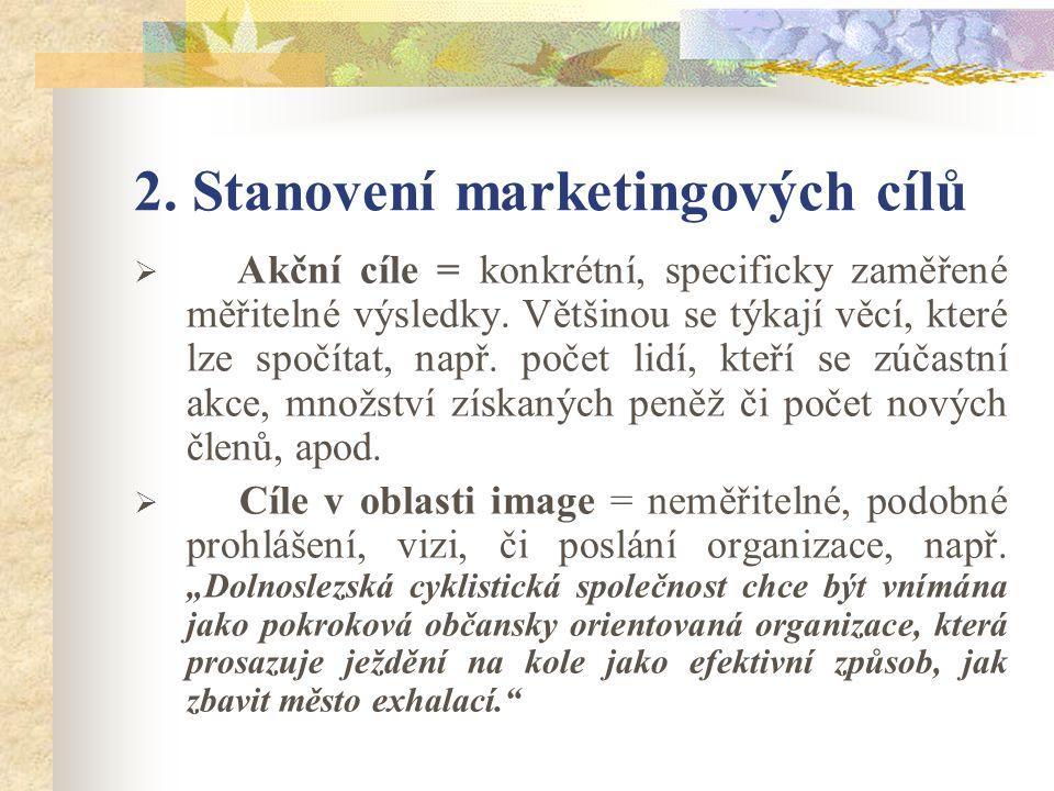 2. Stanovení marketingových cílů  Akční cíle = konkrétní, specificky zaměřené měřitelné výsledky.