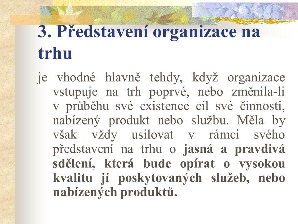 3. Představení organizace na trhu je vhodné hlavně tehdy, když organizace vstupuje na trh poprvé, nebo změnila-li v průběhu své existence cíl své činn
