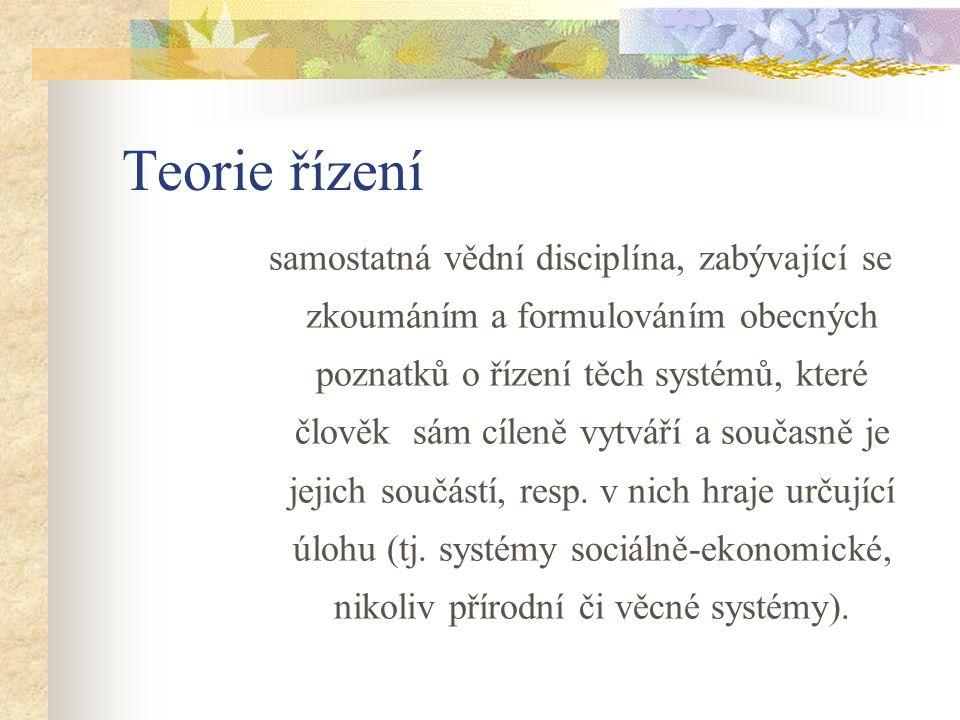 Teorie řízení samostatná vědní disciplína, zabývající se zkoumáním a formulováním obecných poznatků o řízení těch systémů, které člověk sám cíleně vytváří a současně je jejich součástí, resp.