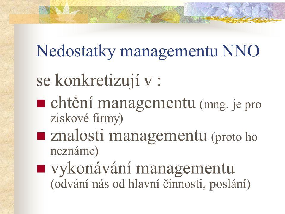 Nedostatky managementu NNO se konkretizují v : chtění managementu (mng. je pro ziskové firmy) znalosti managementu (proto ho neznáme) vykonávání manag