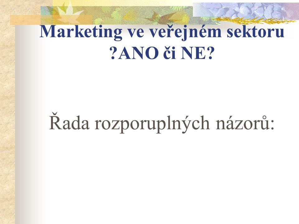 Marketing ve veřejném sektoru ANO či NE Řada rozporuplných názorů: