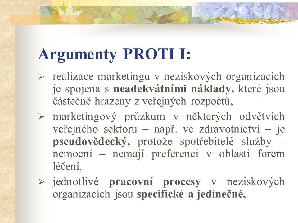 Argumenty PROTI I:  realizace marketingu v neziskových organizacích je spojena s neadekvátními náklady, které jsou částečně hrazeny z veřejných rozpočtů,  marketingový průzkum v některých odvětvích veřejného sektoru – např.
