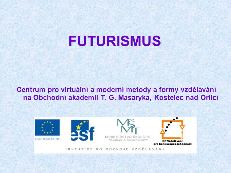 FUTURISMUS futurismus založil roku 1909 Ital Marinetti, o rok později se k němu přihlásili i někteří ruští umělci futuristé se obraceli k budoucnosti (futurus) a odmítali tradiční formy i témata díla jsou plná optimismu a nadšení pro vše nové, opěvují se v nich technické vynálezy, civilizační výdobytky, rychlost a pohyb nové umělecké postupy přiblížily literaturu výtvarnému umění Marinetti přišel s koncepcí osvobozených slov - skládal k sobě slova bez ohledu na větnou skladbu a správné pády, přestal používat interpunkci a básnické přívlastky, slovesa psal v infinitivu, text doplňovaly grafické značky, výtvarné prvky