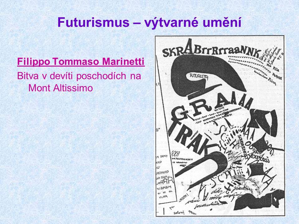 Futurismus – výtvarné umění Filippo Tommaso Marinetti Bitva v devíti poschodích na Mont Altissimo