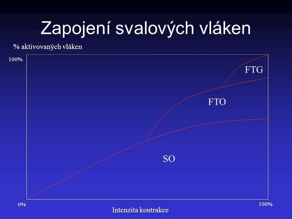 Zapojení svalových vláken FTO FTG SO % aktivovaných vláken Intenzita kontrakce 100% 0%0%