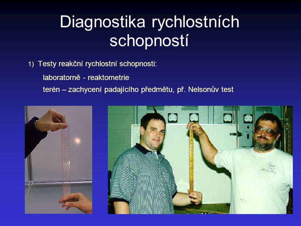 Diagnostika rychlostních schopností 1) Testy reakční rychlostní schopnosti: laboratorně - reaktometrie terén – zachycení padajícího předmětu, př. Nels